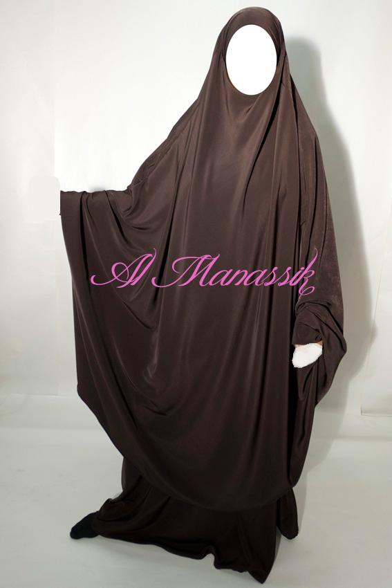 Jilbeb 2pces jupe tissu peau de p che collection 2016 mod le papillon coloris marron chocolat - Tissu peau de peche ...